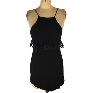 4/$30 Lulus Black Textured Dress with Lace Detail Size XS